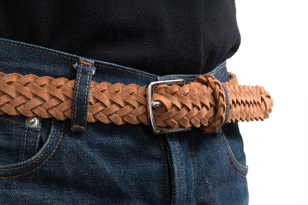 에스파이(ESFAI) BRAIDED SUEDE BELT (SNUFF)